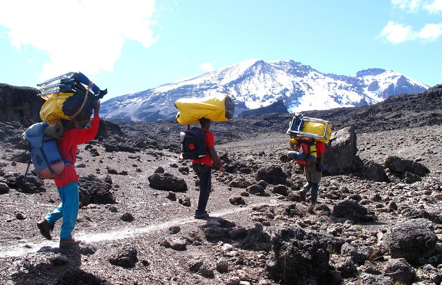 Tusker Trail porters on Kilimanjaro