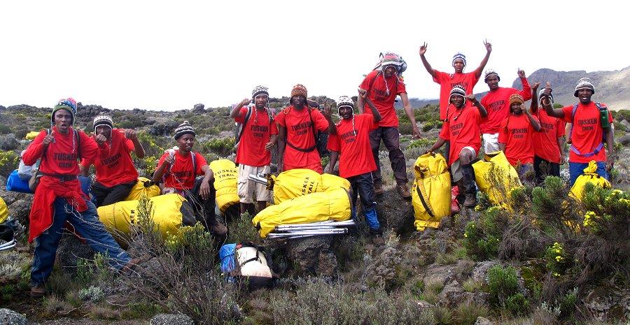 Tusker porters on Kilimanjaro