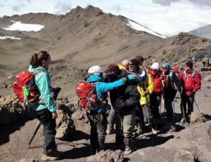 Kilimanjaro climbers on way to and from summit