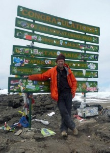 Eddie Frank on the summit of Kilimanjaro