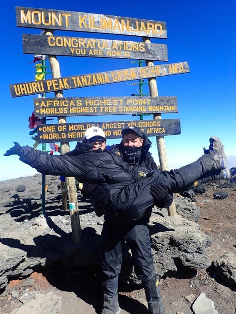 Aloise and Halycon at the Summit of Kilimanjaro