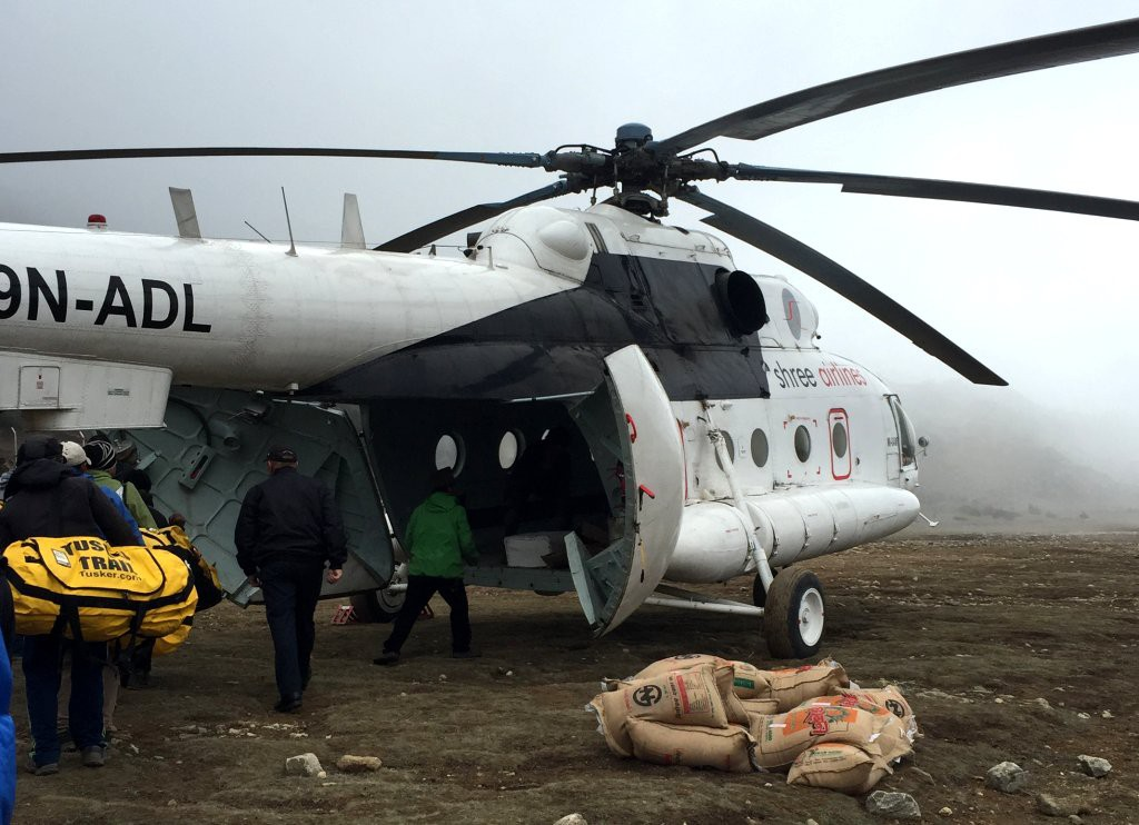 Helicopter evacuation of Tusker Nepal trekkers