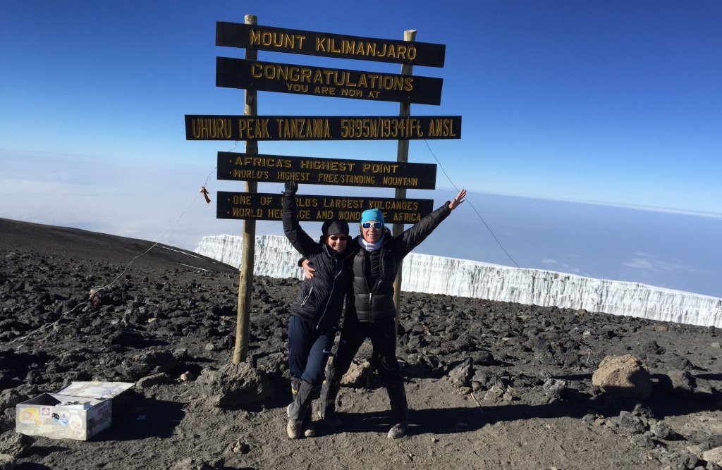 Maria and Bridget on the summit of Kilimanjaro