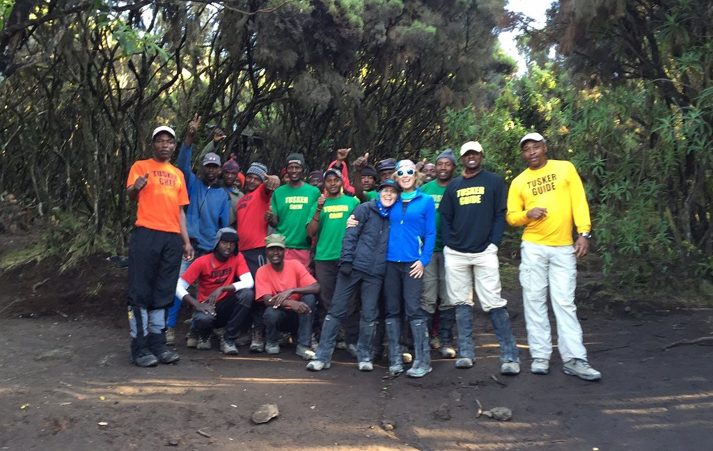 Maria and Bridget with the Tusker crew at Mweka Camp