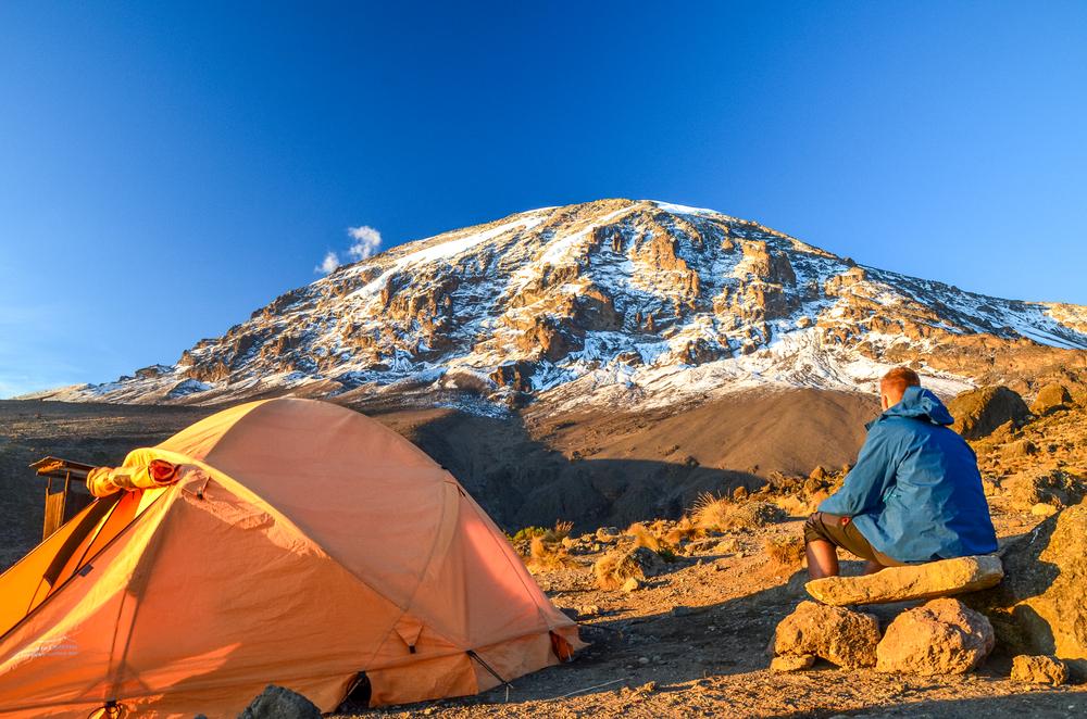 Kilimanjaro tent and hiker