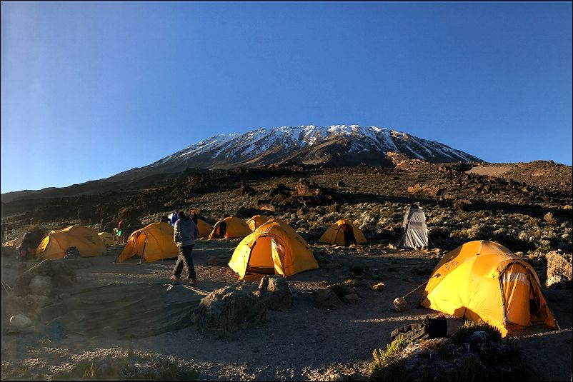 Yellow tents on Kilimanjaro